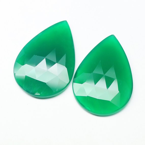 Certified Natural Green Onyx AAA Quality 6x4 mm Faceted Pears Shape 10 pc Lot Loose Gemstone