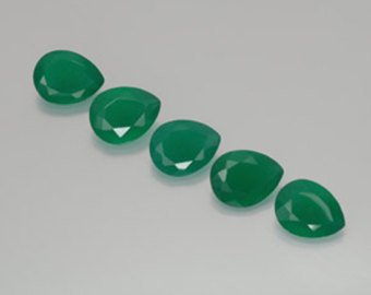 Certified Natural Green Onyx AAA Quality 7x5 mm Faceted Pears Shape 5 pc Lot Loose Gemstone