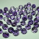 Certified Natural Amethyst AAA Quality 7 mm Faceted Round Shape 50 pcs Lot Loose Gemstone