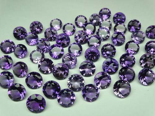 Certified Natural Amethyst AAA Quality 8 mm Faceted Round Shape 10 pcs Lot Loose Gemstone