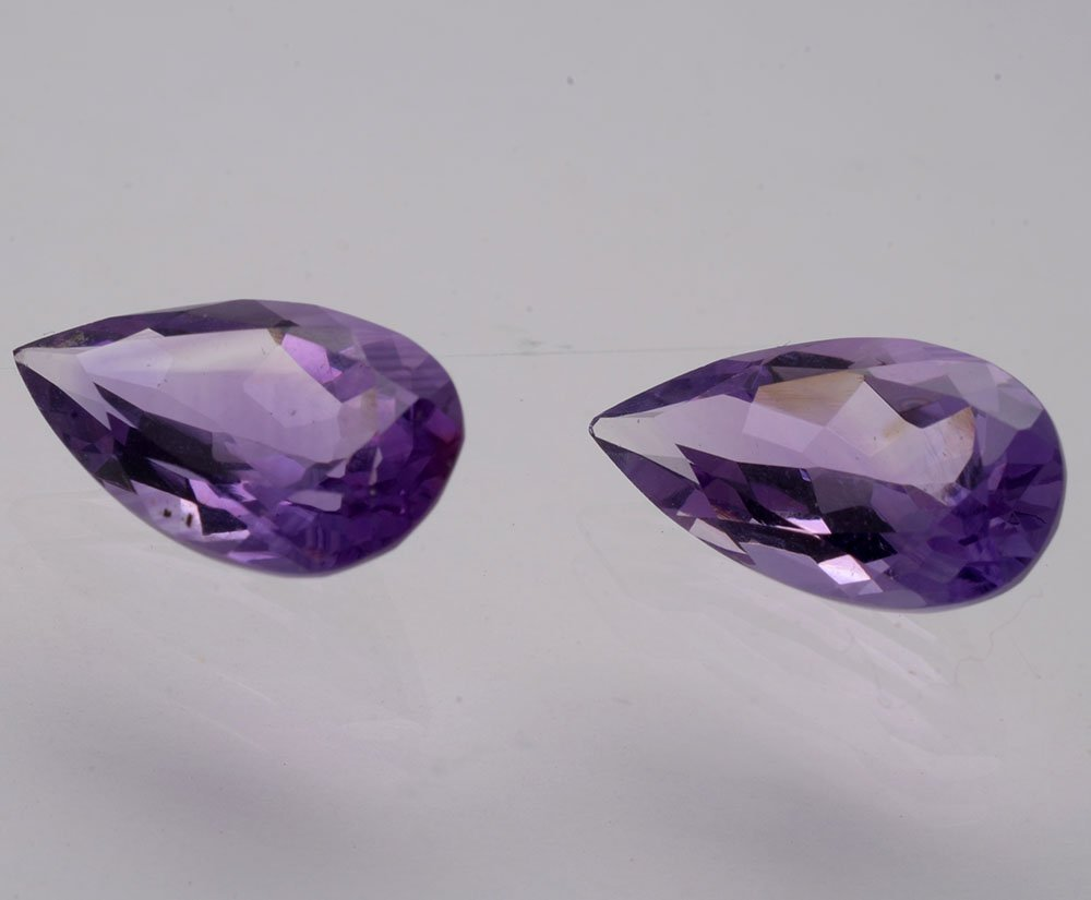 Certified Natural Amethyst AAA Quality 10x7 mm Faceted Pears Shape Pair Loose Gemstone