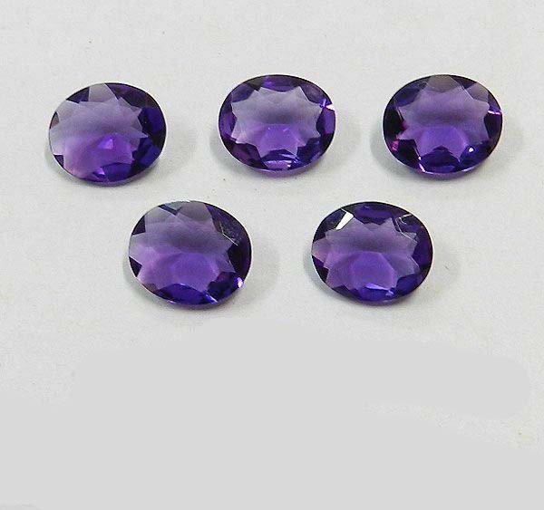 Certified Natural Amethyst AAA Quality 9x7 mm Faceted Oval Shape 5 pcs Lot Loose Gemstone