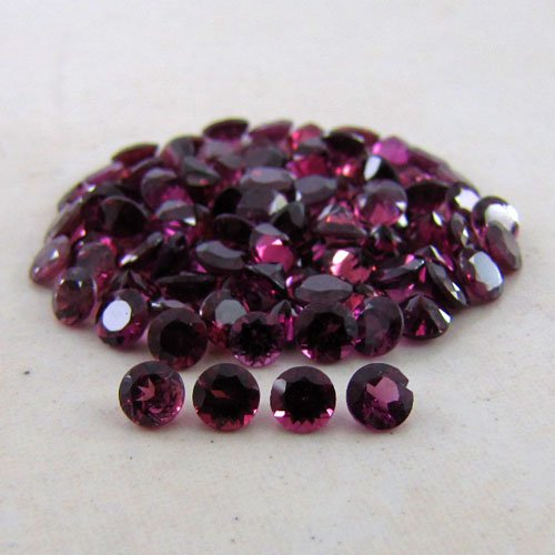 Certified Natural Rhodolite AAA Quality 1.25 mm Faceted Round Shape 50 pc Lot Loose Gemstone