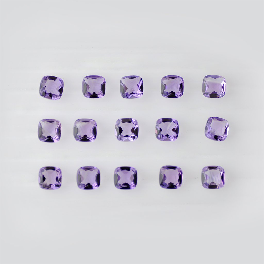 Certified Natural Amethyst AAA Quality 8x6 mm Faceted Cushion Shape 25 pcs Lot Loose Gemstone