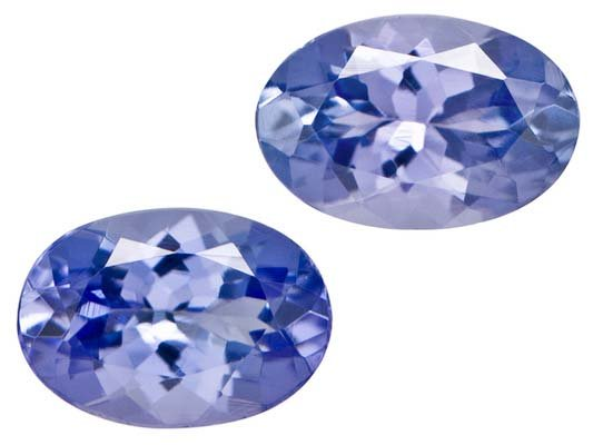 Certified Natural Tanzanite AA Quality 7x5 mm Faceted Oval 2 pcs pair loose gemstone