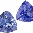 Certified Natural Tanzanite AA Quality 6 mm Faceted Trillion 2 pcs pair loose gemstone
