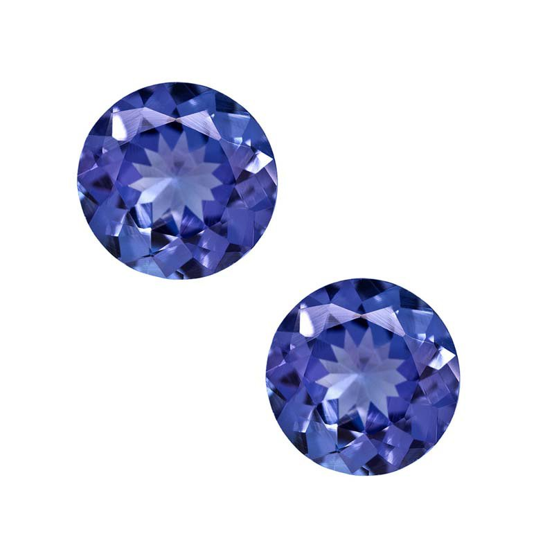 Certified Natural Tanzanite AAA Quality 7 mm Faceted Round 2 pcs Pair loose gemstone