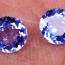 Natural Tempting Violet Blue Tanzanite 1.64Ct Round Shape Pair Certified HG 8988