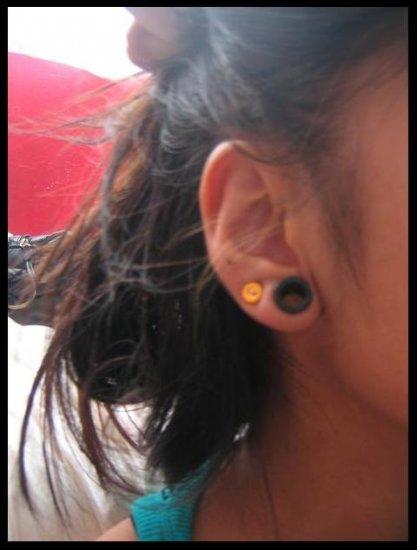 yellow.orange.button.earring