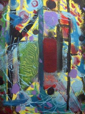 """""""The Door"""" 10x14 Acrylic Abstract By Zach Berkowitz"""