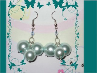 Aqua pearl earrings
