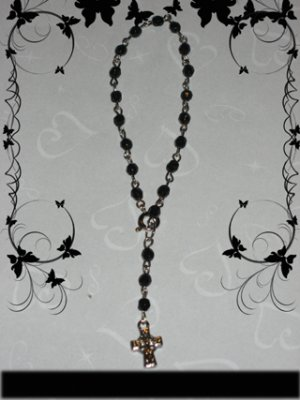 black with cross bracelet