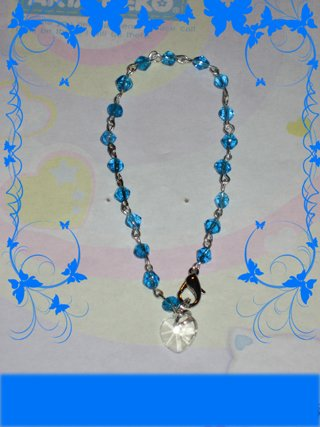 blue bracelet with crystal pendant