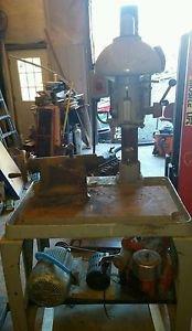 VINTAGE BUFFALO DUAL HEAD DRILL PRESS on heavy cast table steampunk