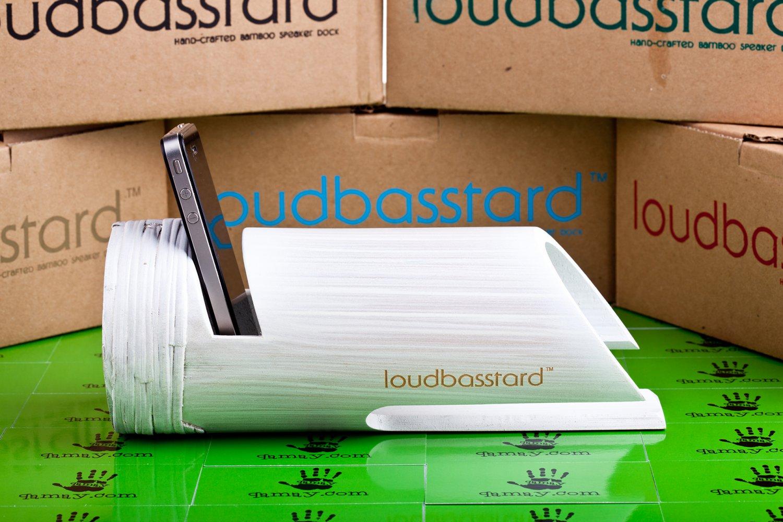Loudbasstard (Whitewash) Bamboo Speaker and Amplifier