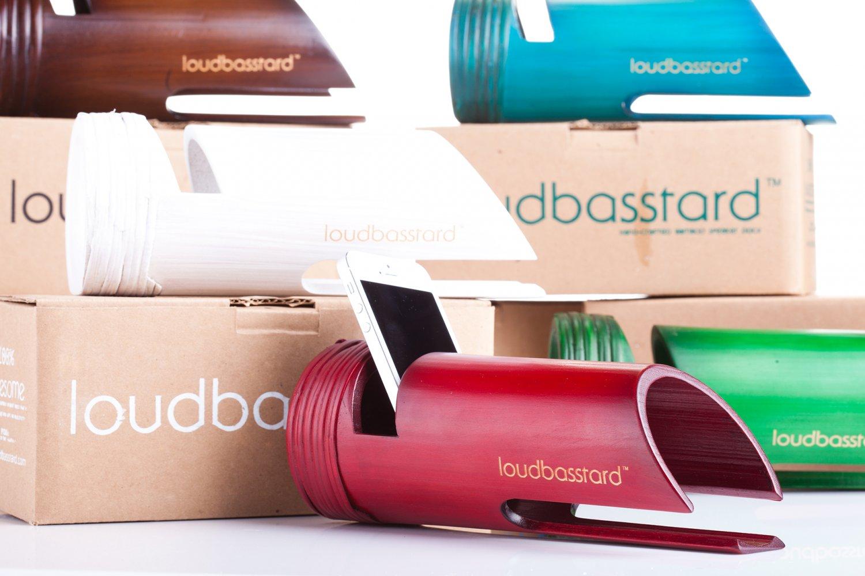 Loudbasstard (Crimson) Bamboo Speaker and Amplifier