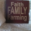 """Wooden handcrafted Sign """"Faith, Family,Farming"""" Red with cream letters"""