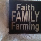 """Wooden handcrafted Sign """"Faith, Family,Farming"""" Navy with cream letters"""
