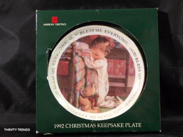 American Greetings 1992 Christmas Keepsake Plate ~ 'GOD BLESS US ALL' - NEW