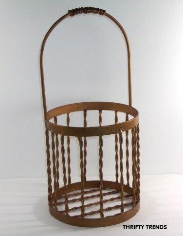 Round Vintage Rustic Metal Decorative Basket