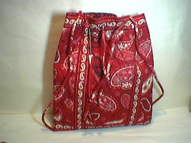 Vera Bradley Backsack in Mesa Red  drawstring tote NWT Retired perfect for concerts day trips