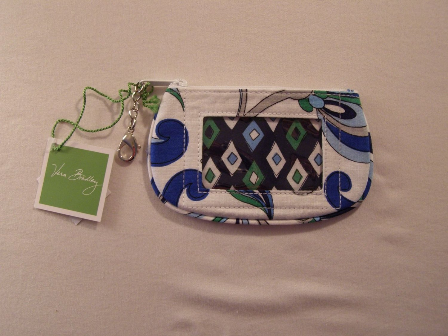 Vera Bradley Clip Zip ID Mediterranean White NWT Retired coin purse tech card travel pill case