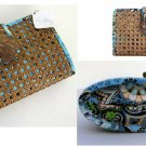 Vera Bradley Tiki Clutch Bali Blue  Retired evening cruise bag rattan cane