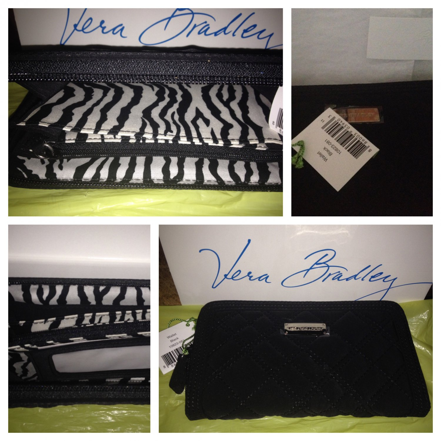 Vera Bradley Wallet Black microfiber NWT Retired  3 section zip-around accordian zebra Giftboxed