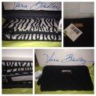 Vera Bradley Wallet Black microfiber NWT Retired  3 section zip-around accordian zebra Giftboxed