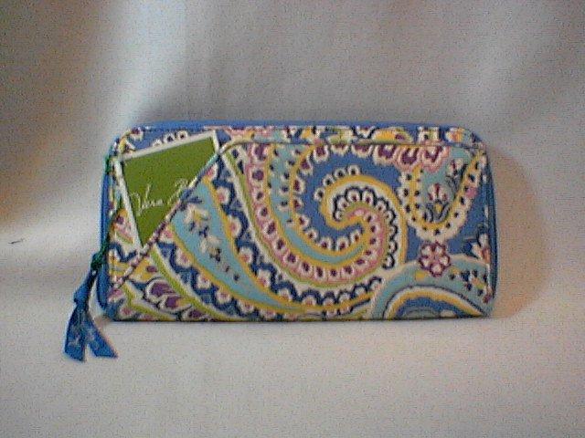 Vera Bradley Travel Organizer Capri Blue zip around wallet   Retired NWT boarding passport