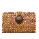 Vera Bradley Tiki Clutch Bali Gold Retired evening cruise bag rattan cane