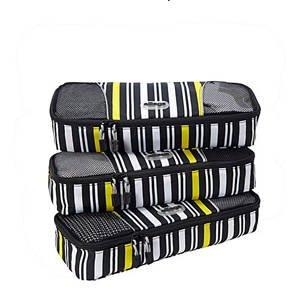 eBags Slim Packing Cubes Ltd Ed Yellow Stripe set/3  great travel aid