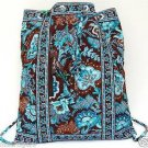 Java Blue Backsack  Vera Bradley drawstring backpack laundry knitting bag  retired NWT