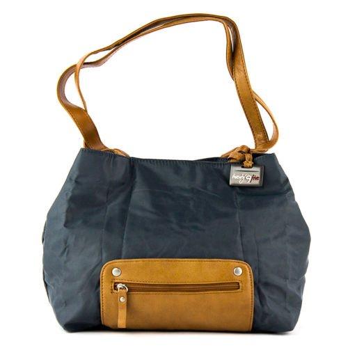 Travelon Twenty9Five Piegare Mini Tote  � Grey fold-up travel shoulder bag nylon leather accents