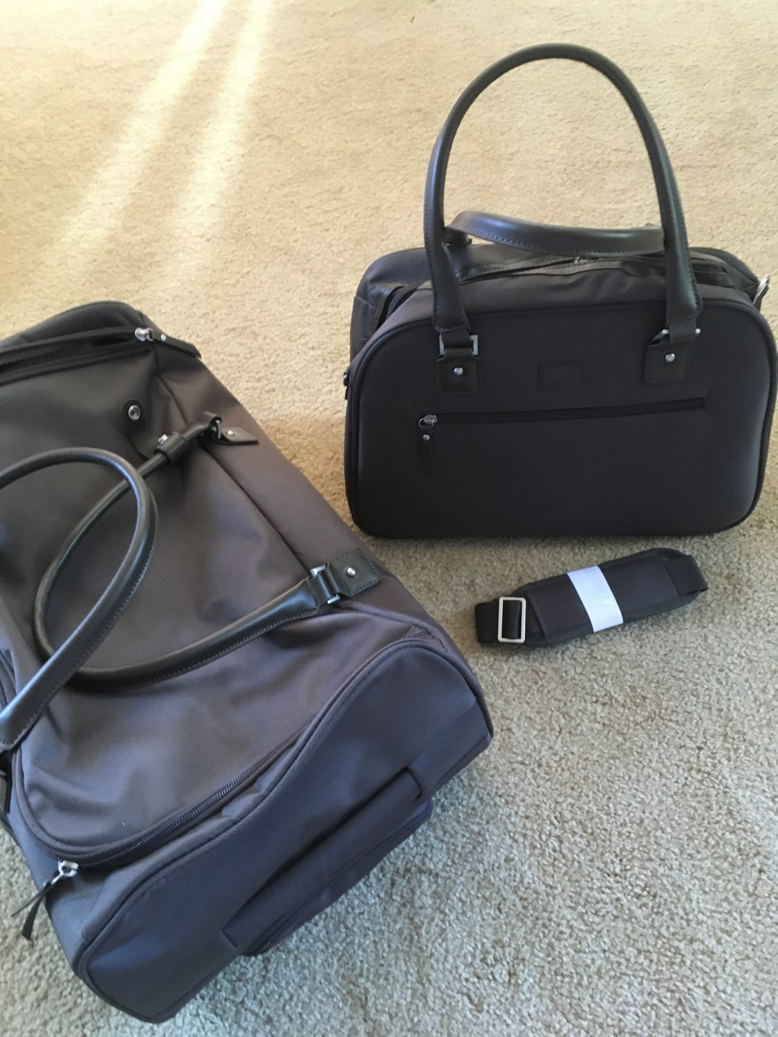 Travelsmith Carry-On Duffel + Satchel boarding bag rolling luggage TSO Espresso cocoa brown travel