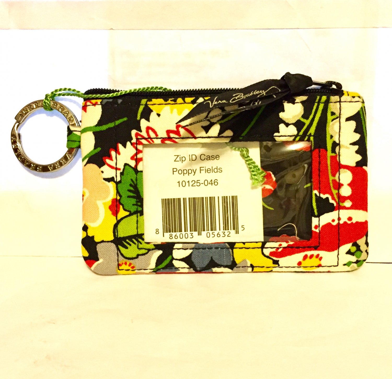 Vera Bradley Zip ID Case Poppy Fields . tech coin pda wallet