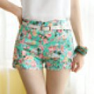 spring Green Slim thin sweet pastoral style floral print shorts shorts