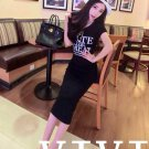 Black Korean summer cotton round neck letters printed short sleeve dress Slim hip casual dress