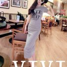 Grey Korean summer cotton round neck letters printed short sleeve dress Slim hip casual dress