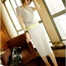 Grey short-sleeved striped dress skirt
