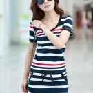 Blue and red Slim thin striped cotton short-sleeved dress