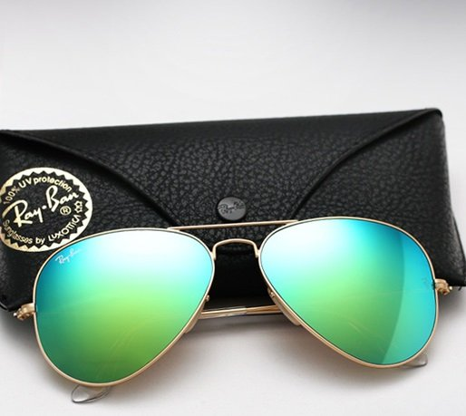 Ray Ban Aviator RB3025 Sunglasses 112/19 Matte Gold with Green Mirror Lens