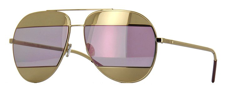 Christian Dior Split 1 Sunglasses In Gold and Pink Mirror Lens 0000J