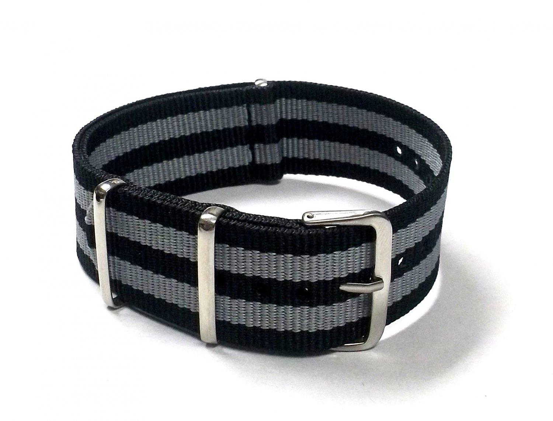 Military G10 Nylon Black/Gray (James Bond) Watchstraps Watch Straps Band 20mm FREE SHIPPING