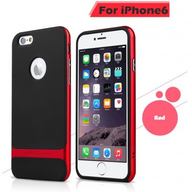 Rocks iPhone 6+ Plus TPU/PU Protective Back Case Red Color