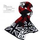 Union Jack UK Plaids Check Woolen Knit Wrap Shawl Scarf Red Color