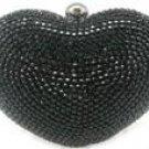 "Verga Rhinestones Heart Bag Case Purse B332A - Black "" FREE Registered Mail"""