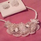 White and Cream Beaded Bib Set