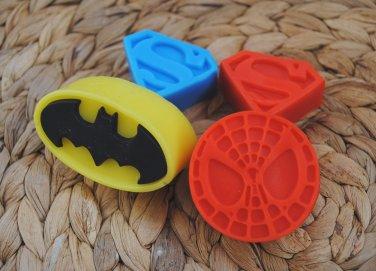 Soap Handmade Superhero Logo soaps � batman, spiderman, superman - birthday gift, party filler
