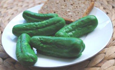 Soap Handmade Pickle Soaps x 4 � Gherkin, birthday present, novelty, gag, practical joke